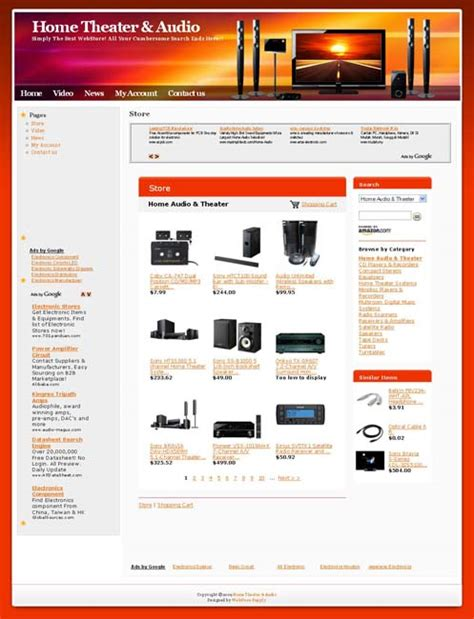 home theater audio shop  business website