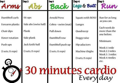 5 day workout plan fitness get in shape