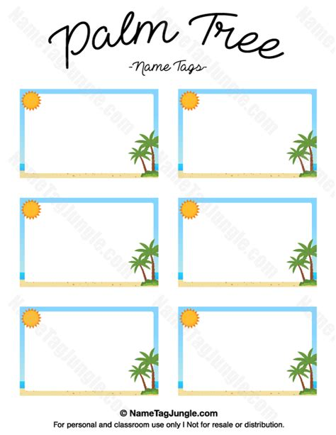 caign palm card template free printable palm tree name tags the template can also