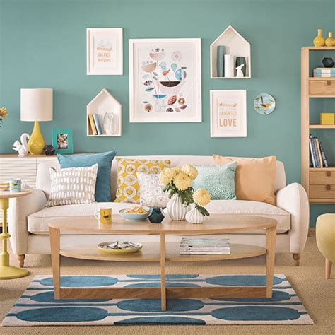 ideal home interiors teal blue and oak living room decorating housetohome co uk