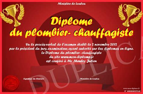 Plombier Chauffagiste by Diplome Du Plombier Chauffagiste