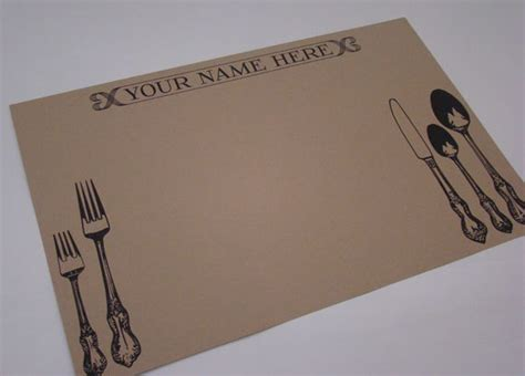 Craft Paper Placemats - custom single use kraft placemats set of 12