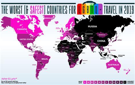lgbtq travel safety world map reveals  dangerous