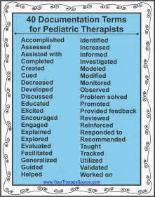 40 documentation terms for pediatric therapy your