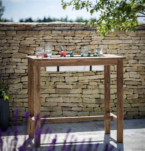 Outdoor Bar 191 by Teak Wood Bar Table With Drinks Cooler By Garden