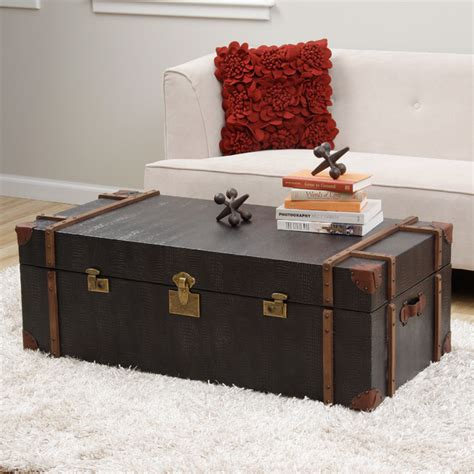 Journey Black Croc Embossed Leather Trunk Coffee Table Modern Trunk Coffee Table