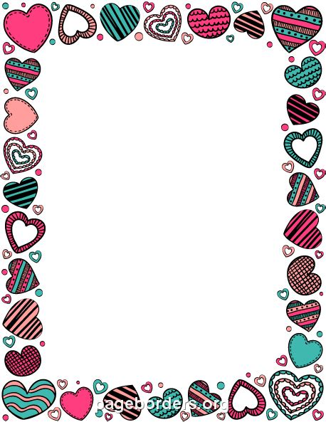 printable stationary with hearts printable heart doodle border use the border in microsoft