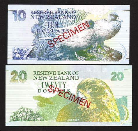 bank of new zealand reserve bank of new zealand 1992 97 nd issue specimen