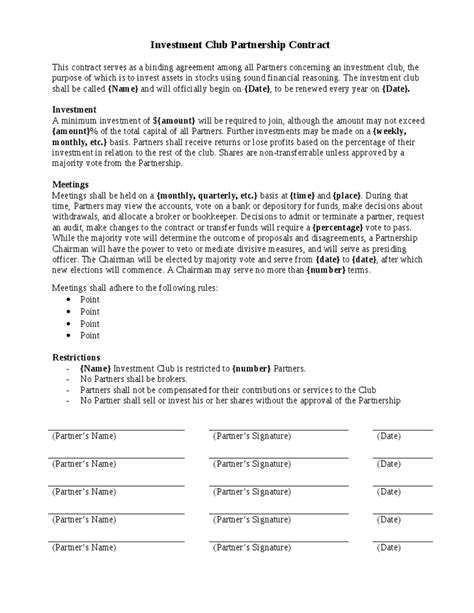 5 investment contract templates word excel pdf formats