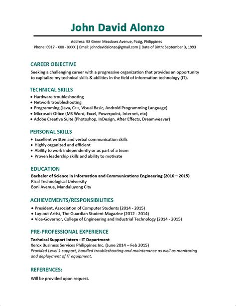 Sample Resume For Ojt Computer Science Students by Sample Resume Format For Fresh Graduates One Page Format