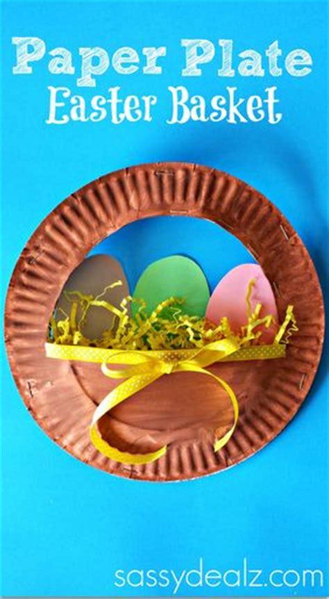 Paper Plate Basket Craft - 3d paper plate easter basket craft for