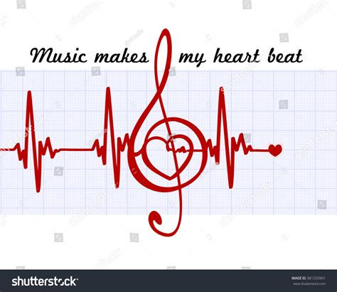 heart in a musical clef with cardiogram music makes my