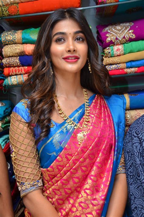 pooja online shopping pooja hegde traditional saree photos at anutex shopping