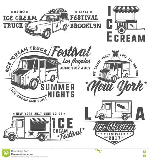 food truck design elements food truck and ice cream emblems badges and design