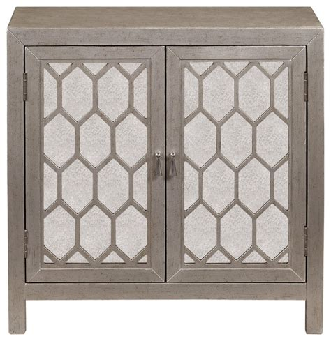 regency 2 doors accent chest storage cabinet silver bevel door chest transitional accent chests and