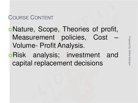 Risk Management Notes For Mba by Mba 1 Me U 4 Profit Management Risk Analysis
