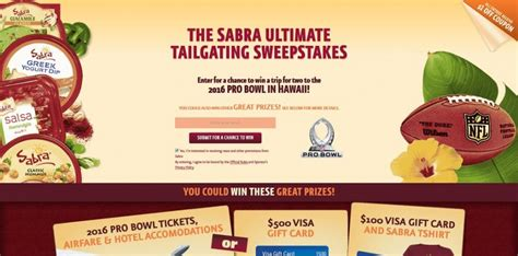 Pro Bowl Sweepstakes - sabra nfl ultimate tailgating sweepstakes win a trip to the 2016 pro bowl in hawaii
