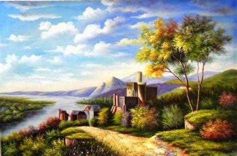 wallpaper pemandangan alam kartun 50 gambar ilustrasi lukisan pemandangan alam pantai