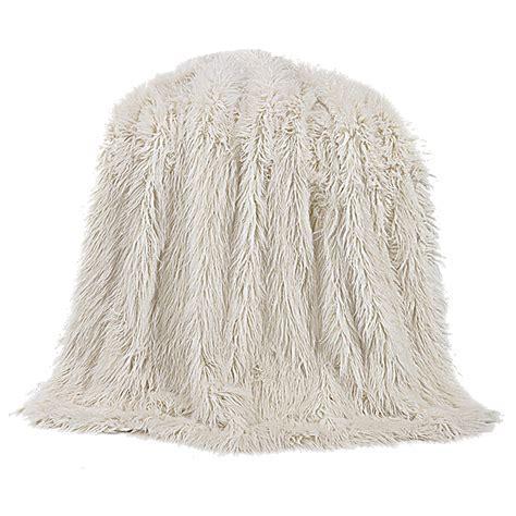 Mongolian White Faux Fur Throw
