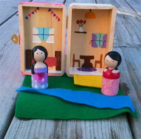 peg doll house waldorf inspired take along dollhouse peg dolls