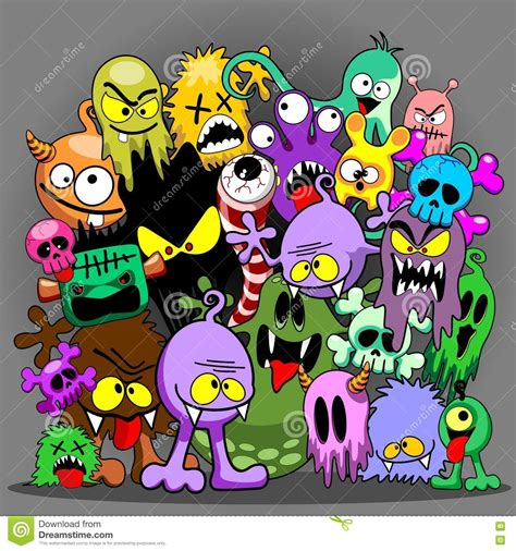 doodle characters monsters colored monsters doodles spooky characters stock vector image