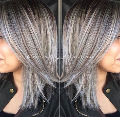 platinum highlights for graying brunette hair 25 best ideas about gray hair highlights on pinterest