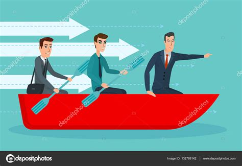 cartoon rowing boat management businessmen workers rowing oars in boat and manager with