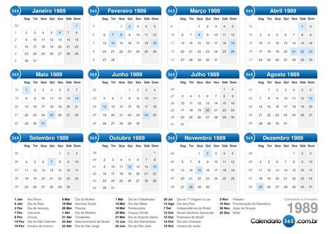 Calendario De 1989 Calend 225 1989