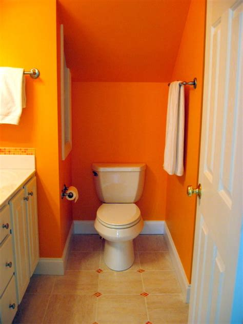 orange in bathtub bright orange bathroom