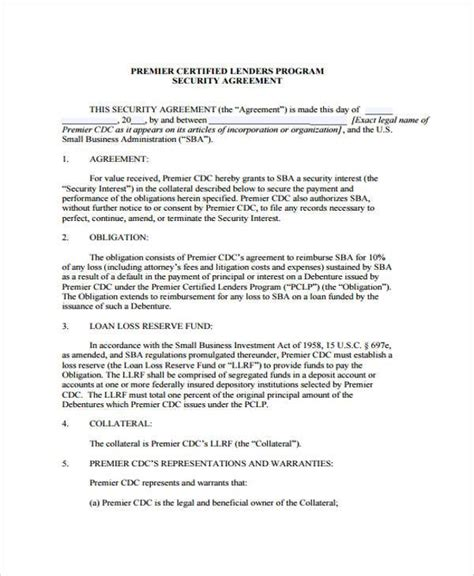 Loan And Security Agreement Template Addendum To Contract Template Auto Loan Security Agreement Loan And Security Agreement Template
