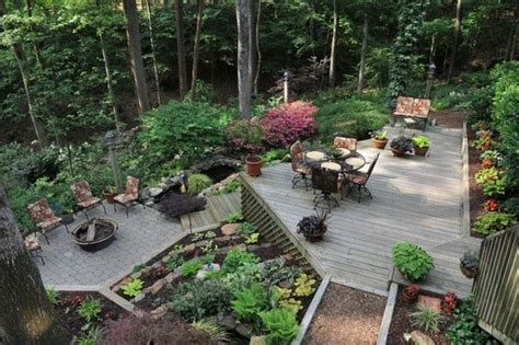 Sloped Backyard Ideas Landscaping For A Wooded Sloped Lot Landscaping A Slope Pinterest Decks Backyards And