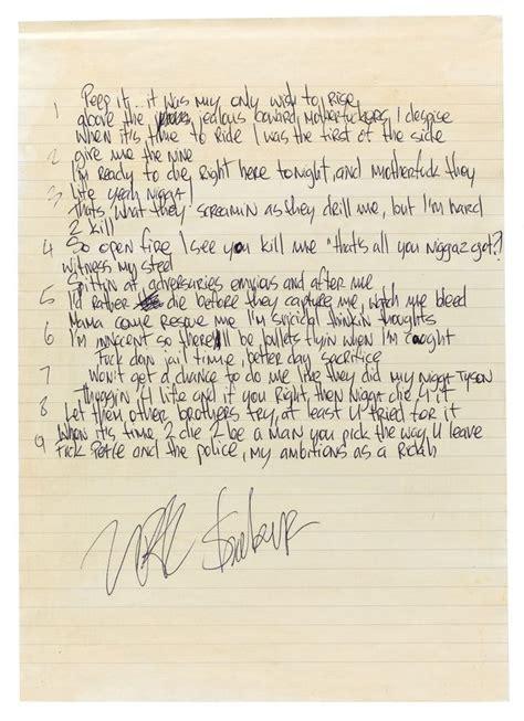 hospital beds lyrics unreleased tupac shakur music and hand written lyrics to
