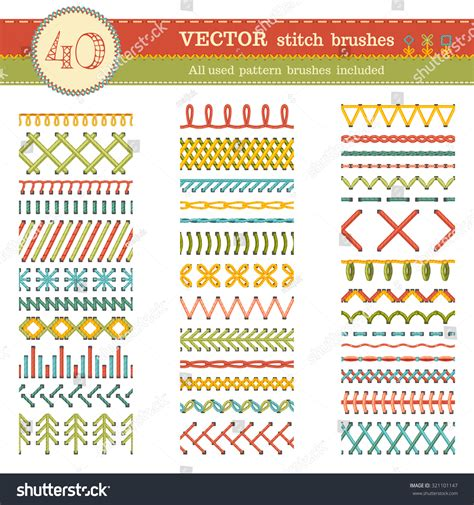 sewing borders design elements vector vector set seamless stitch brushes sewing stock vector