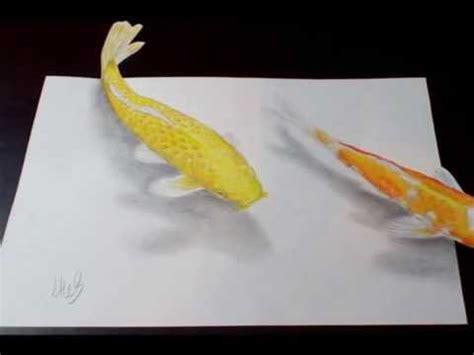 koi pond thediabeticspoon drawing realistic and stylish koi pond 3d illusion drawing of koi carp youtube