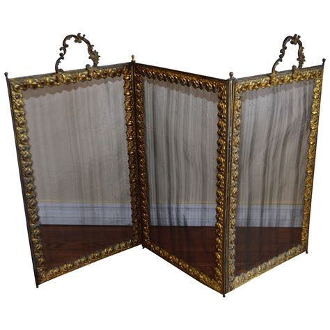 Folding Fireplace Screens by Folding Bronze And Mesh Fireplace Screen For Sale