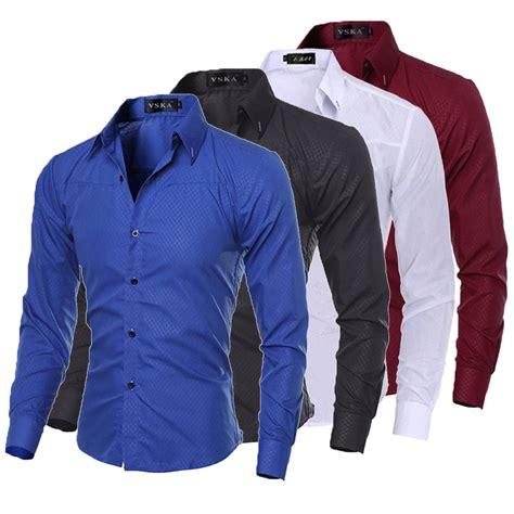 jual vest formal jual luxury new fashion mens slim fit shirt long sleeve