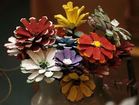 how to make pine cone flowers flower power pinterest turn pine cones into festive flowers lifestyles