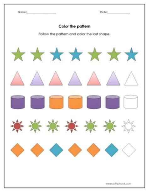 numbers pattern recognition color the pattern worksheet worksheet