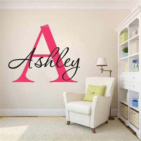name stickers for bedroom walls custom personalized name monogram wall stickers say quote