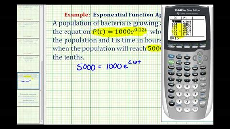calculator exponential ex exponential application solved using a graphing