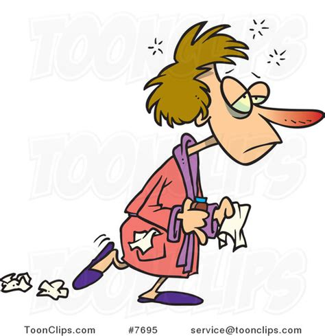 Cartoon Flu Sick Lady Dropping Tissues #7695 by Ron Leishman