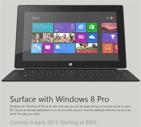 Microsoft Surface Windows 8 Pro microsoft details schedule of surface with windows 8 pro