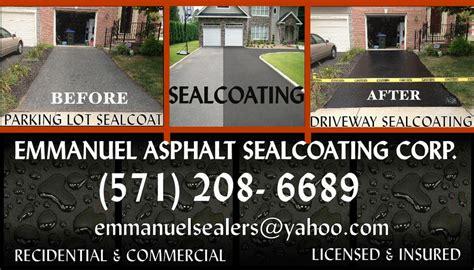sealcoating business cards emmanuel asphalt sealcoating corp manassas va 20111