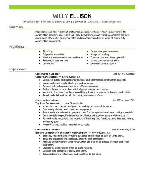 Resume Sles Construction Laborer Construction Labor Resume Exle Construction Sle Resumes Livecareer