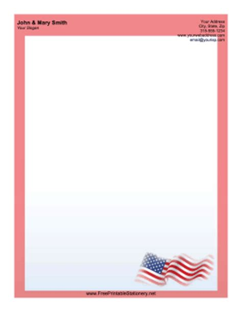 printable flag stationery waving us flag stationery