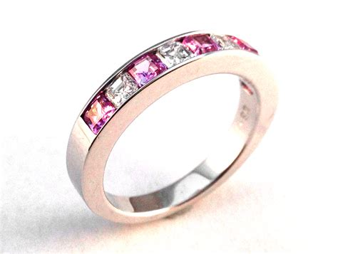 wedding band four asscher pink sapphire