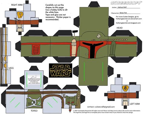 Wars Paper Craft - sw2 boba fett cubee by theflyingdachshund on deviantart