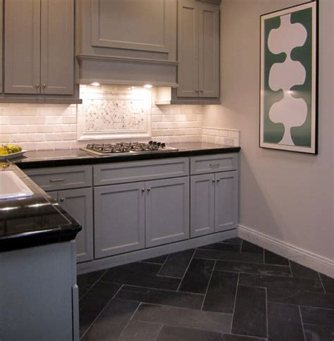 Carrara Marble Kitchen Backsplash Carrara Marble Backsplash With A Herringbone Pattern Slate Tile In The Floor Thetileshop