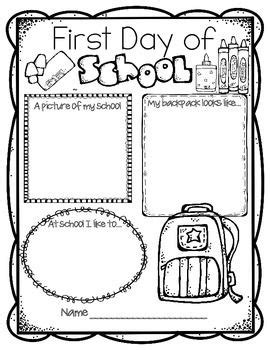 activities kindergarten first day first day of school activities back to school worksheets