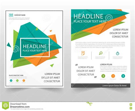 layout photo design green orange triangle geometric leaflet brochure flyer